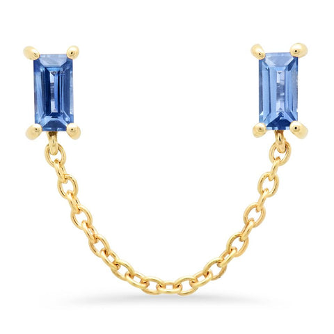 14K Yellow Gold Blue Sapphire Baguette Chain Stud