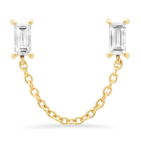 14K Yellow Gold Diamond Baguette Chain Stud