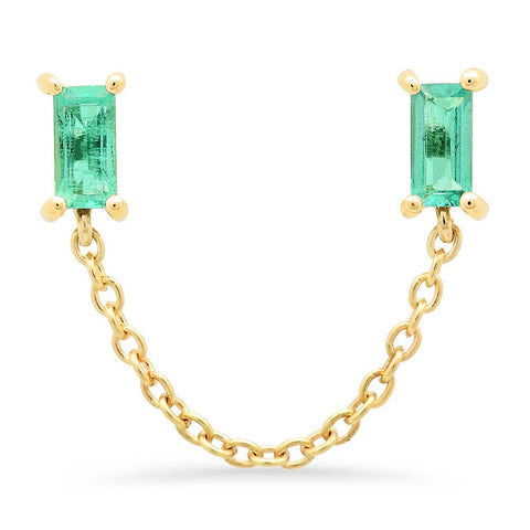 14K Yellow Gold Emerald Baguette Chain Stud