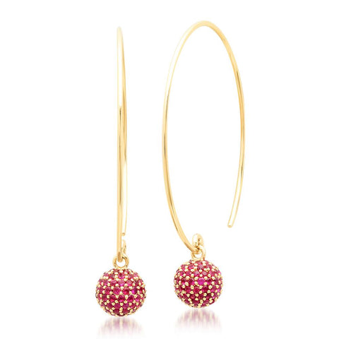 Eriness Jewelry Ruby Disco Ball Wire Earrings