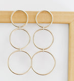 Eriness Yellow Gold Triple Loop Earrings