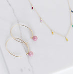 Eriness Yellow Gold Pink Sapphire Wire Earrings