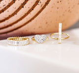 Eriness Yellow Gold Diamond Baguette Stick Ring