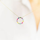 Eriness Jewelry Multi Colored Baguette Circle Necklace