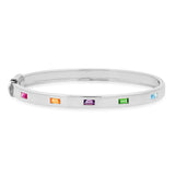 14K White Gold Bangle with Multi Colored Spaced Baguettes