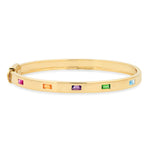 14K Yellow Gold Bangle with Multi Colored Spaced Baguettes