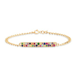14K Yellow Gold Multi Colored ID Bracelet