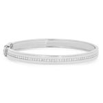 White Gold Bangle with Pave Diamond Row