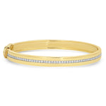 Yellow Gold Bangle with Pave Diamond Row