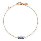 14K Rose Gold Triple Blue Sapphire Princess Cut Bracelet