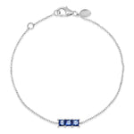 14K White Gold Triple Blue Sapphire Princess Cut Bracelet