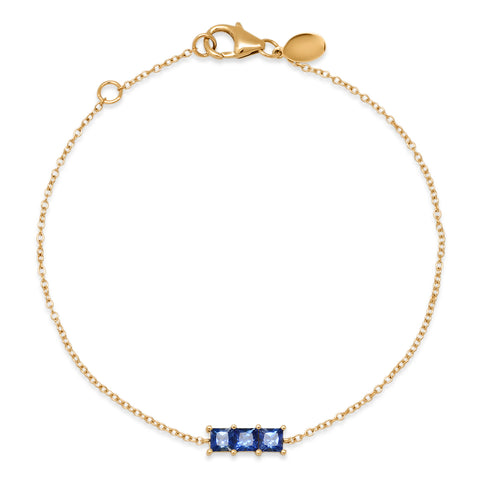14K Yellow Gold Triple Blue Sapphire Princess Cut Bracelet