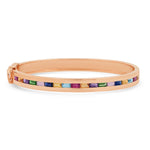 14K Rose Gold Multi Colored Baguette Row Bangle
