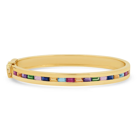 14K Yellow Gold Multi Colored Baguette Row Bangle