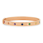 14K Rose Gold Round Multi Colored Bangle