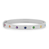 14K White Gold Round Multi Colored Bangle
