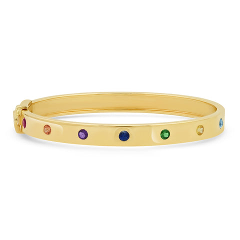 14K Yellow Gold Round Multi Colored Bangle