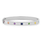 14K White Gold Princess Cut and Round Multi Colored Bangle
