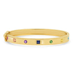 14K Yellow Gold Princess Cut and Round Multi Colored Bangle