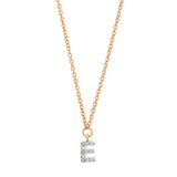 Rose Gold Diamond Mini Initial Necklace