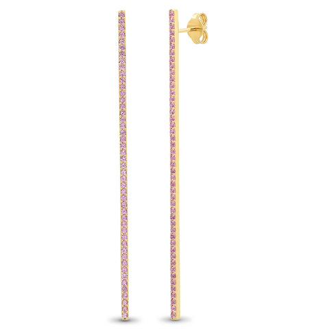 Pink Sapphire Bar Earrings