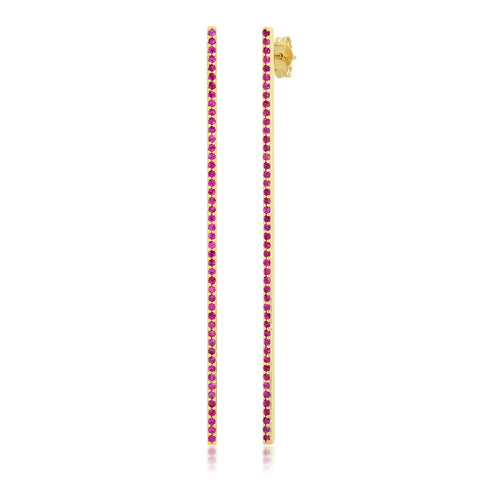 Yellow Gold Ruby Bar Earrings