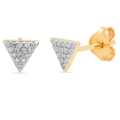 Eriness Jewelry Pave Diamond Triangle Studs