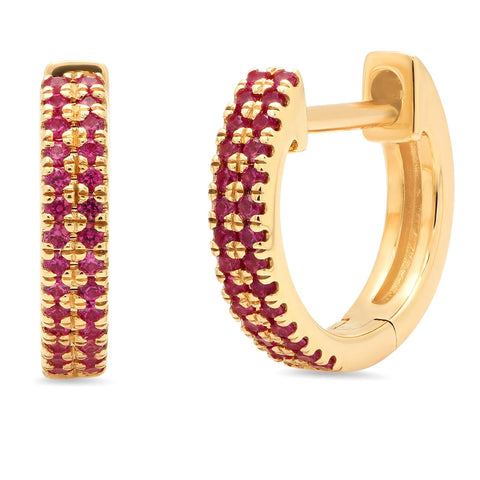 Eriness Yellow Gold Double Row Ruby Huggies