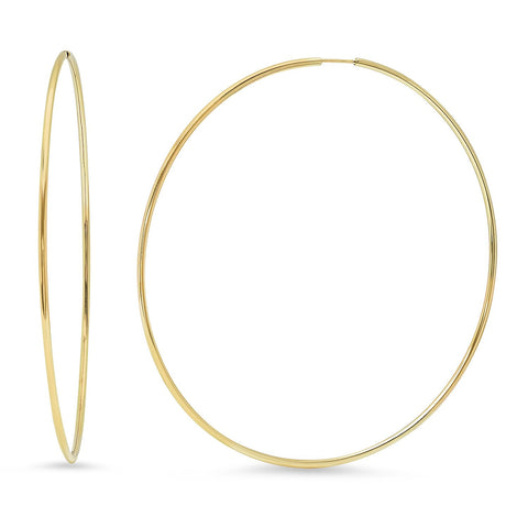 Eriness Jewelry 2.5 Inch Gold Tube Hoops