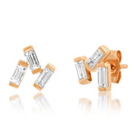 Rose Gold Diamond Baguette Cluster Studs