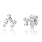 White Gold Diamond Baguette Cluster Studs