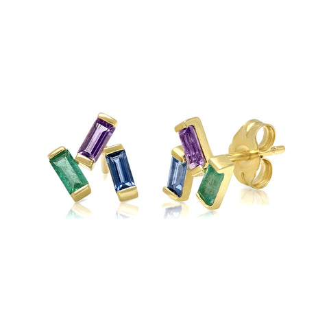 Yellow Gold Blue Sapphire, Emerald and Amethyst Baguette Clusters