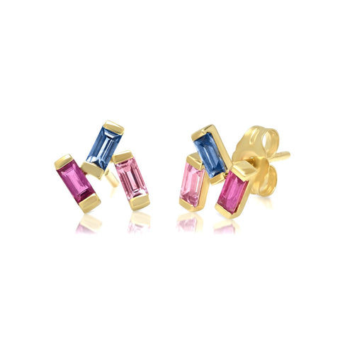 Yellow Gold Ruby, Pink and Blue Sapphire Baguette Cluster Studs