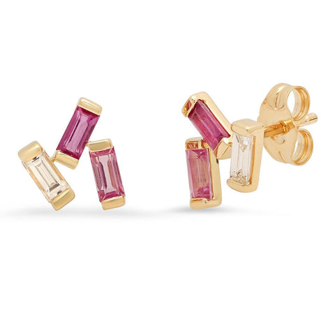 Yellow Gold Ruby, Pink Sapphire and Diamond Baguette Clusters