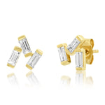 Yellow Gold Diamond Baguette Cluster Studs