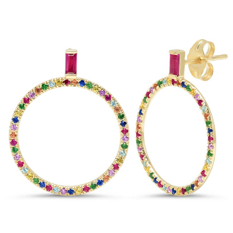 Eriness Jewelry Multi Colored and Ruby Baguette Loop Earrings
