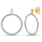 Eriness Jewelry Diamond Baguette Diamond Loop Earrings