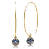 Eriness Jewelry Blue Sapphire Disco Ball Earrings