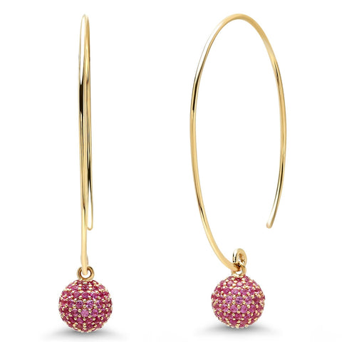 Eriness Jewelry Pink Sapphire Disco Ball Earrings