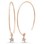 14K Rose Gold Diamond Star Charm Earrings