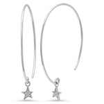 14K White Gold Diamond Star Charm Earrings