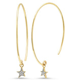 14K Yellow Gold Diamond Star Charm Earrings