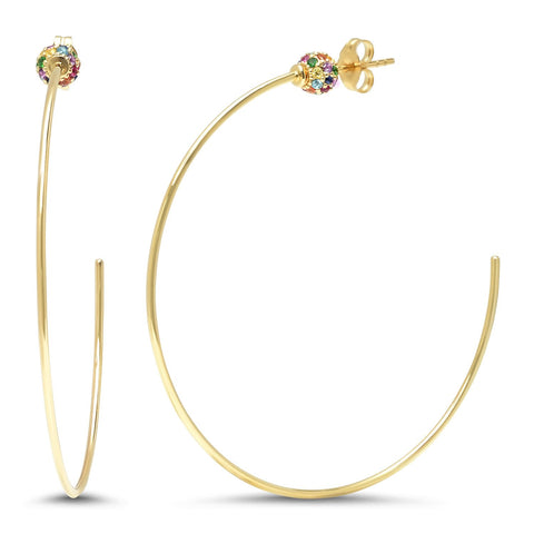 Eriness Jewelry Multi Colored Disco Ball Hoops