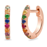 14K Rose Gold Multi Colored Mini Huggies