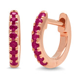 14K Rose Gold Mini Ruby Huggies