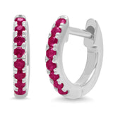 14K White Gold Mini Ruby Huggies