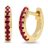 14K Yellow Gold Mini Ruby Huggies