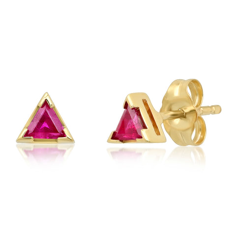 Triangle Ruby Studs