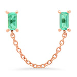 14K Rose Gold Emerald Baguette Chain Stud