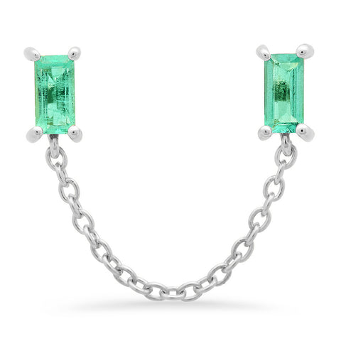 14K White Gold Emerald Baguette Chain Stud
